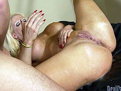 A crazy blonde milf expresses her wildest desires, showing her nude body to a craving partner. Click to watch the busty bitch, sucking dick with fervor, then getting pounded hard from behind. Have fun!