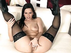 Eve Angel is horny as hell and fucks her vagina with her dildo for your viewing enjoyment