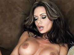Crissy Moran with massive hooters and hairless bush strips down to her bare skin