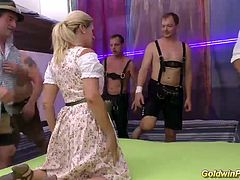 extreme pierced busty german Milf enjoys her first lederhosen gangbang
