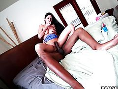 Nikki Daniels and hard cocked dude do lewd things in interracial hardcore action