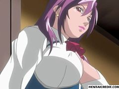 Blonde hentai babe tied up and gangbanged