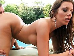 Brunette Debbie White plays with guys rock solid sausage
