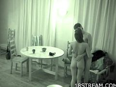 Spy cam captures a teen couple having great sex