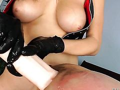 Angelic hottie Holly Michaels finds him sexy and takes his hard rod