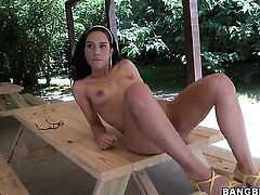 Brunette breathtaker Tia Cyrus with phat butt gets her love tunnel destroyed
