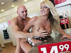 Johnny Sins drills nasty Chantelle Skyes mouth just like crazy