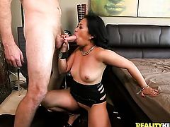 Mature oriental is too horny to stop fucking with hot guy in interracial hardcore action