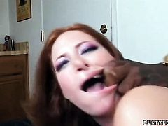 Redhead Ginger Blaze with huge breasts loses control in interracial sexual frenzy with hard cocked fuck buddy