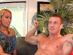 Melanie Monroe is a blonde pornstars that is getting cumshot in the face. The milf is really hot and she likes to suck a hard cock in this scene.