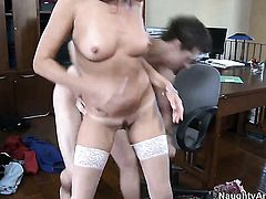 Prettied up babe Michelle Lay makes her sex dreams a come true with hard dicked guy Xander Corvus