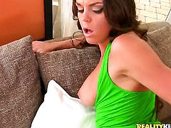 Brunette Rahyndee spends her sexual energy with sturdy fuck stick in her mouth