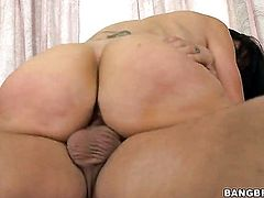 Brunette cutie Ava Addams with phat booty takes money shot on her eager face