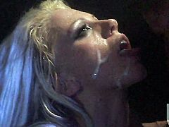Tanya James gets covered in cum after sex with hot man