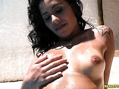 Loupan makes Piercings chicana Leona Yamamoto scream and shout with his stiff tool in her asshole before she gets her throat drilled