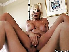 Danny Wylde plays with soaking wet fuck hole of Flirty harlot Puma Swede with gigantic knockers and clean twat before he fucks her hard
