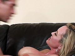 Brandi Love satisfies guys sexual needs and then gets painted with sperm