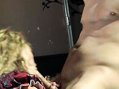 Shyla Stylez with giant breasts puts her luscious lips on rock hard man meat