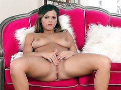 With gigantic jugs and shaved cunt makes her sexual fantasies a reality in solo action