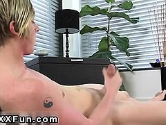 Cute young uncut twink EMO guy Jamie showers his six pack wi