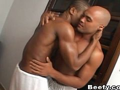 Sexy Black Beefy Gay Licking Ass Bareback Hardcore.Black Muscled Gay Doing Hot Sex With His Muscled Gay Roommate.Pounding Anal Fuck And Cum Swapping.
