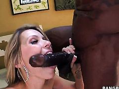 Blonde Courtney Cummz and hot dude have a lot of sexual energy to spend in interracial action