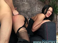 He gets rough with the girl and crams his dick in her ass