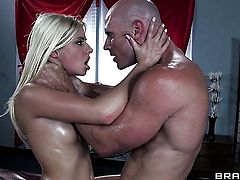 Johnny Sins touches the hottest parts of extremely horny Jessie Volts body after he penetrates her ass
