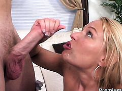 Mellanie Monroe with juicy boobs finds man hot and takes his hard love stick in her mouth