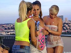 Fabulous slim lesbians having a kinky fun time outdoors on a rooftop