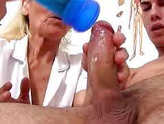 Dirty grandma Hana uniform cfnm tugjob