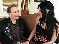 Brunette Andy Sandimas with phat booty is desperate for man semen