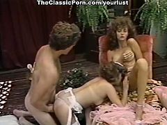 Scorching beauties with curly hair engage in a threesome