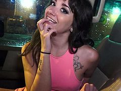 Gia Paige is a nice brunette that hides her small boobs under her pink top. Lovely girl is next to driver in his car. She is ready to take her panties off and doesnt mind giving head.