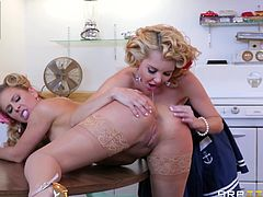 Cherie Deville's charm is enough to catch naughty Aaliyah's attention. Click to watch these two horny blonde-haired milfs, undressing and playing dirty games. Whereas together in the kitchen, they forget about chores and get busy with eating pussy, and kissing with flaming passion. Enjoy!