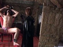 When the mistress licks her slave's body, it drives him wild. He is in stirrups and wearing panties, as she dominates him, but she will finally release him, so she can get fucked hard. She is in control and he has to follow.