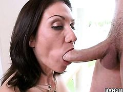Brunette Karrlie Dawn with bubbly butt has fire in her eyes as she takes cum shot on her eager face