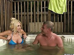 Blonde Carmel Moore polishes lucky dudes sturdy rod with her lips