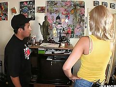 Blonde latina Bridgette B gets cum drenched after sex with hot guy