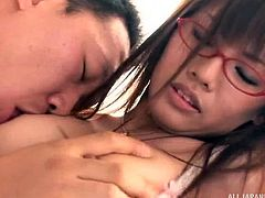 This hottie has no interest in doing her job well. Nursing is a boring job and she needs a doctor to spice it up. The doctor unstraps her bra and starts to touch her boobs. He then fingers her hairy pussy too. This lovely Japanese nurse is excited by now and she is ready to take a dick in her hot pussy.