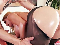 Blake Rose sucks like a first rate hoe in steamy oral action with Criss Strokes after she takes it in her anal hole