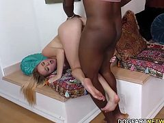 Blonde teen Iris Rose tries Mandingo's big black cock.