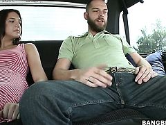 Brunette with tiny tities and bald snatch gets cum soaked in steamy cumshot scene