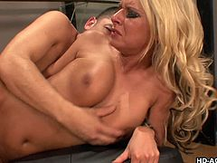 Blonde whore Riley, wants more exercise and that includes a lot of moaning and humping. As the guy understands her urges, he takes the bitch out of her clothes and gives her a superb cock ride with boobs bounced. Guy also nailed her in sideways and fills her twat deep, while squeezing her tits hard!