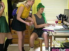 A green haired lesbian schoolgirl, Emerald, gets her hairy pussy licked and fingered hard by her two sexy naughty classmates named Arial and Marina