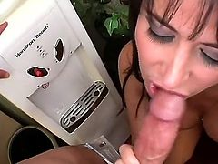 Eva Karera is a brunette that is sucking a cock. She is skilled at giving a blow job. The milf is gorgeous and she looks really amazing getting dominated and cumshot.