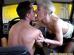 sexy german milf picked up for extreme big cock car sex