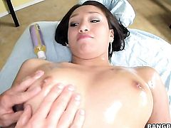 Brunette exotic Vicki Chase gets her mouth destroyed by guys ram rod