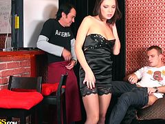 A seducing brunette babe, eager to play dirty, expresses her lusty desires in a provocative way. After small chat with the bartender, she succeeds in making him unzip his pants, to feed her hunger for a hard dick. Click to watch this strumpet lady, sucking cock with fervor!