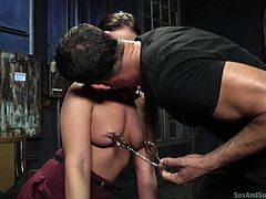 Roxy's horny partner takes off her ball gag, only to dominate her with his cock. See this bonded lady mouth fucked with no mercy! While clamps are attached on her nipples, torturing her lovely big tits, she's wearing an anal dildo in that crazy ass... Relax and have fun!